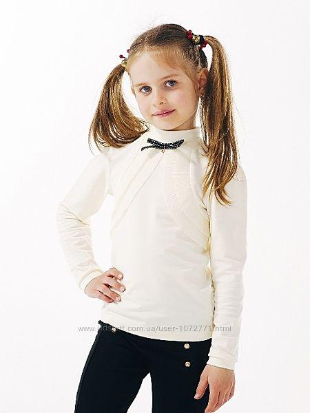 Блуза трикотажная с длинным рукавом SMIL кремовая и белая 114644