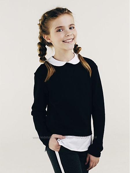 Свитшот обманка для девочки SMIL черный 116413 116414