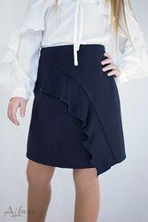 Школьная юбка с воланом Albero синяя и черная 3027