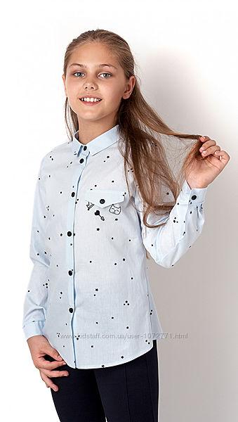 Рубашка для девочки Mevis 2961 розовая и голубая