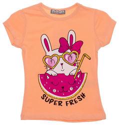 Яркая футболка для девочки Зайка 968