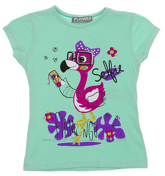 Яркая футболка с фламинго для девочки Selfie 965 - 7 цветов в наличии