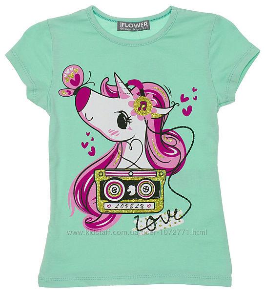 Летняя яркая футболка с единорогом для девочки 966 - 5 цветов