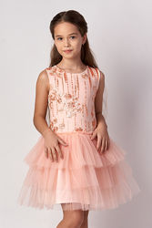 Нарядное платье для девочки Mevis розовое и персиковое 3314