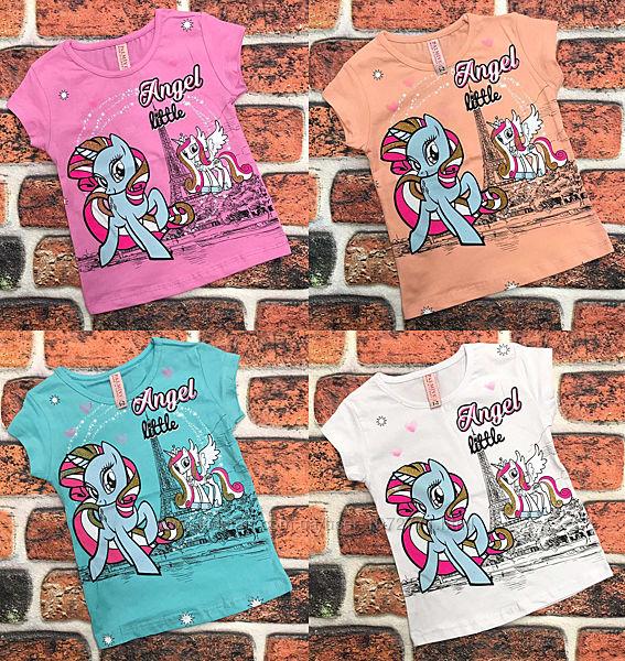 Яркие футболки для девочек 1-8 лет принт фламинго, единорог, пони, котики
