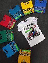 Футболки для мальчиков 1-8 лет - 8 цветов, разные рисунки