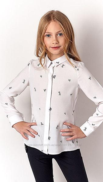 Рубашка для девочки Mevis белая 3302-01