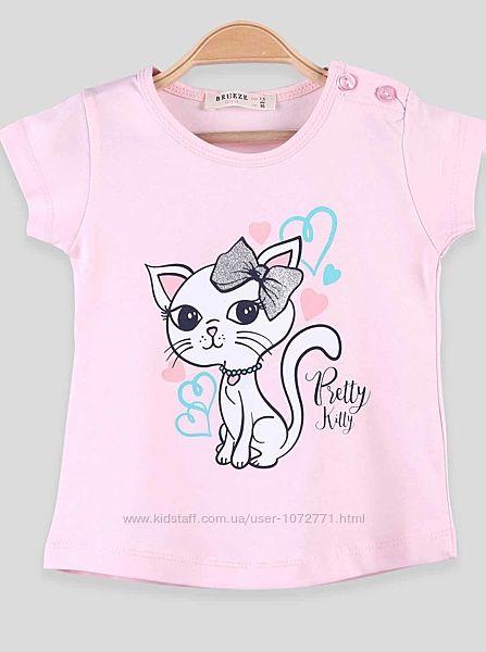 Легкая футболка для девочки Breeze Кошечка 14329