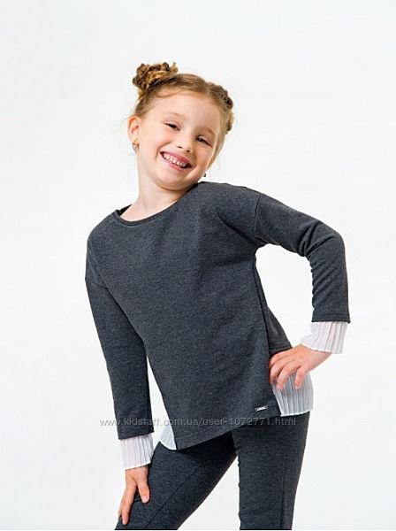 Свитшот для девочки SMIL 116441 - молочный, синий, серый