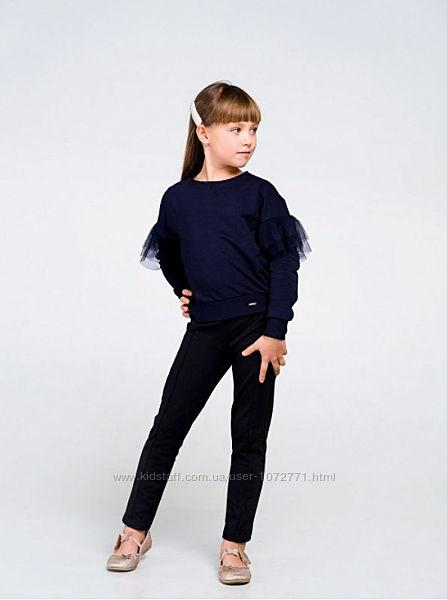 Стильные свитшоты для девочки SMIL 116443 синий, черный, молочный