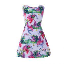Платье клеш летнее с единорогами, расцветки