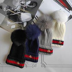 Демисезонная шапка Gucci с бубоном, разные расцветки