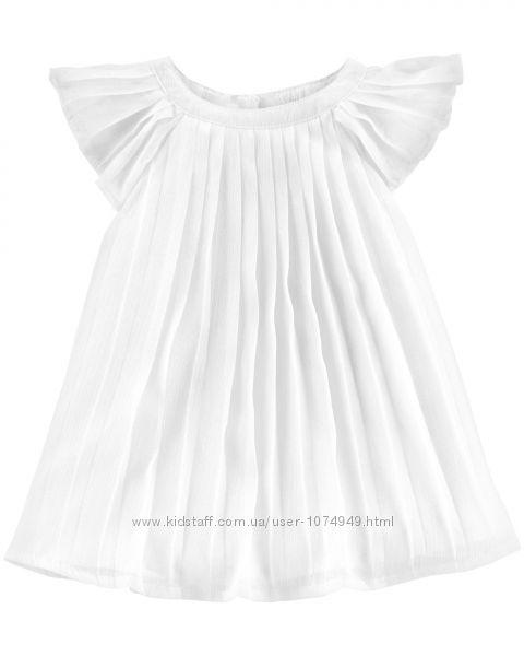 Нарядное плиссированное платье 0-3М OshKosh для новорожденной девочки
