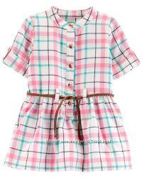 Модное Платье в клетку Carters 12M 72-76 см с коротким рукавом девочке
