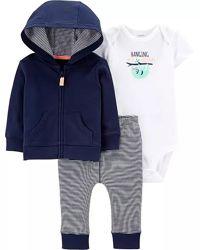 Комплект тройка новорожденному мальчику 3М на рост 55-61 см, набор Картерс