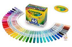 Цветные смывающиеся толстые фломастеры 40 штук Crayola Washable Markers