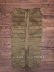 Стильная бандажная юбка из резинок цвета болотного цвета хаки 10р-12р, 44-46