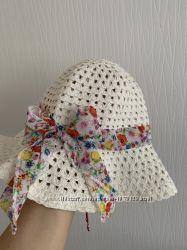 Соломенная шляпка Н&M с бантом, на девочку 6-8 лет, 52 см объём