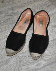 Туфли Clarks мокасины лоферы черные эспадрильи замшевые натуральные 38-39