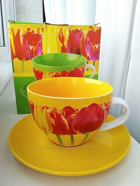 Весенняя яркая чашка с блюдцем, керамика, 300 мл
