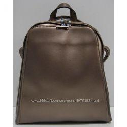 Женский кожаный рюкзак-сумка перламутровый