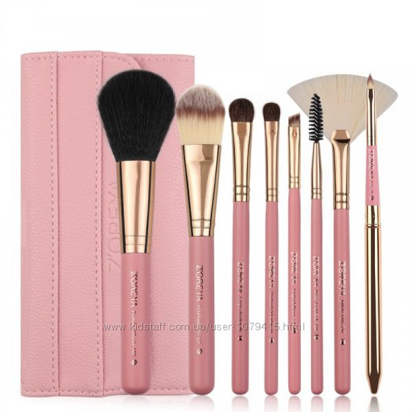 Набор кистей для макияжа ZOREYA 8 рс Розовый