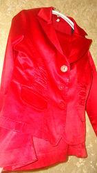 Шёлковый костюм красно лиловый. Германия. 48 размер. IZABELLA.
