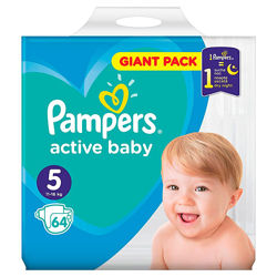 Pampers active baby giant pack 4 70 шт, 5 64 шт