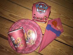Одноразовая посуда и атрибутика щенячий патруль для девочек
