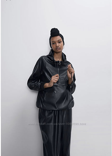 Zara куртка худи бомбер эко кожа кожзам