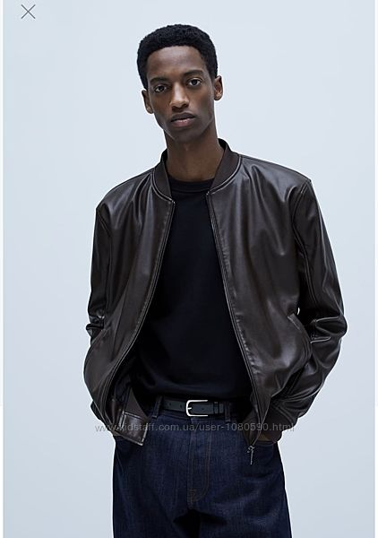 Zara куртка бомбер кожзам эко кожа