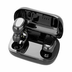 Беспроводные наушники вкладыши Чёрные с микрофоном и магнитным зарядным кей
