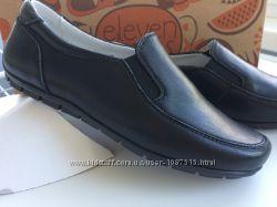 Новые школьные туфли лоферы полностью кожа мальчик супинатор липучка нові