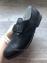 Новые черные полностью кожаные туфдли в школу для мальчика елевен шуз нові
