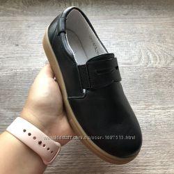 Новые кожаные школьные туфли лоферы мальч елевен шуз нові шкіряні чорні шкі