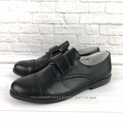 Черные кожаные туфли для мальчика Eleven Shoes елевен школа легкие каблук