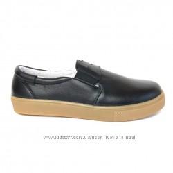 Туфли-лоферы мальчику Eleven Shoes кожа легкие черные стелька супинатор