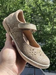 Кожаные туфли для девочки Ren But Польша кофейный цвет легкие прошиты