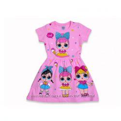 Летнее платье для девочки короткий рукав Куколки LOL розовое рост 98-110 см