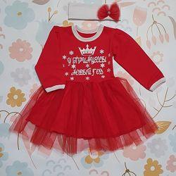 Новогоднее платье с начёсом и фатином плюс повязка Красное Рост 74-110 см