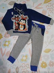 Костюм тёплый детский Тринитка на флисе Олень и Пингвин 2 цвета 80-116 см