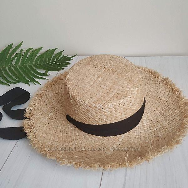 Соломенная летняя шляпка, канотье с широкими полями и бахромой пляжная