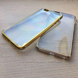 Чехол с ободком и камнями Сваровски для Iphone 5 5S 6 6S 7 7pl 8 8pl X XS