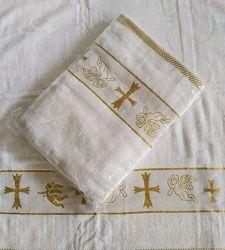 Полотенце  крестильное крыжма Белое золото. Хлопок