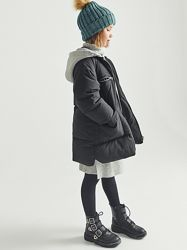 Куртка с серым капюшоном zara зимняя евро зима холодная осень оверсайз