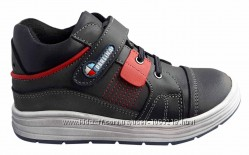 Детские ортопедические демисезонны ботинки на флисе  серые р. 22 - 26