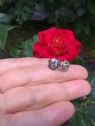 новые серьги на закрутках, пусеты, гвоздики серебро 925 пробы родирование