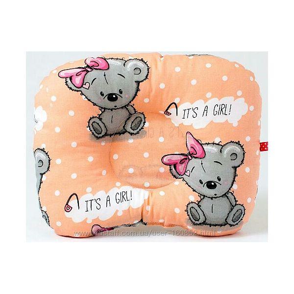 Детская ортопедическая подушка BabySoon Мишутка с бантом 22 х 26 см