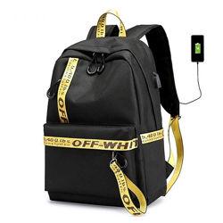 Рюкзак молодежный водонепроницаемый с юсб разъемом off white.