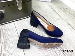 Кожаные туфли на каблуке замш цвета супер качество